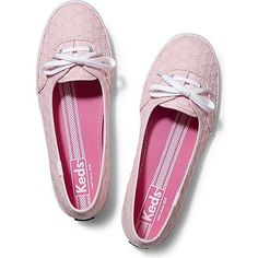 Keds Teacup Eyelet (73 CAD) ❤ liked on Polyvore featuring shoes, flats, light pink, lace shoes, pull on shoes, light pink shoes, flat pumps and keds shoes