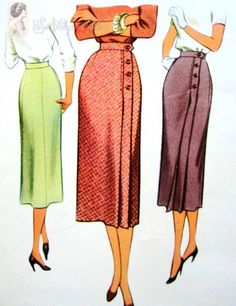 1950s Classy Front Wrap Around Slim Skirt McCall 9491 Vintage Sewing Pattern…