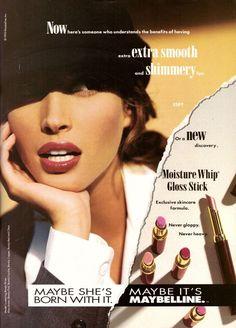 1993 Maybelline Cosmetics Christy Turlington Print Ad Vintage Advertisement 90s