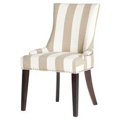 Add a pop of color to your dining table or living room seating group with this striking side chair, showcasing vibrant taupe and white-striped upholstery and...