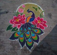 Rangoli Colours, Rangoli Patterns, Rangoli Ideas, Beautiful Rangoli Designs, Kolam Designs, Mehandi Designs, Peacock Rangoli, Kolam Rangoli, Peacock Drawing