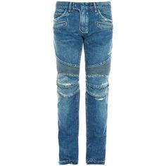 Balmain Biker slim-leg distressed jeans (113350 RSD) ❤ liked on Polyvore featuring men's fashion, men's clothing, men's jeans, light blue, mens distressed denim jeans, mens rock and roll jeans, mens light blue jeans, mens low rise jeans and mens ripped jeans