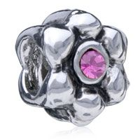 Pugster Daisy Flower With October Birthstone Pink Crystal Style Pandora Silver Plated Bead