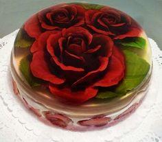 gourmet y floral en Jello Recipes, Dessert Recipes, Beautiful Cakes, Amazing Cakes, Gelatina Jello, 3d Jelly Cake, Jelly Desserts, Jelly Flower, Jello Cake