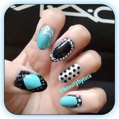 #turquoise #black #rhinestones #nails