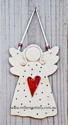 Australian handmade ceramic angel from www. - Australian handmade ceramic angel by www. Clay Christmas Decorations, Christmas Clay, Christmas Angels, Handmade Christmas, Angel Crafts, Diy And Crafts, Christmas Crafts, Christmas Ornaments, Pottery Angels