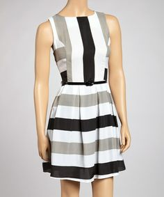 Take a look at this Black & Gray Stripe Belted Dress by Bailey Blue on #zulily today!