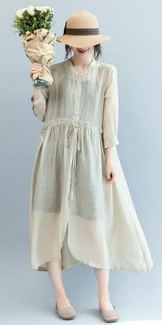 Fashion Button Down Maxi Beige Dresses Women Loose Clothes Q2566