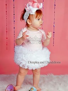 Brooklyn's 1st bday outfit for a Princess theme party... Princess Crown Bling TuTu One Piece