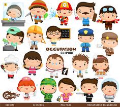 This listing is for 20 cute occupation design elements. This digital clipart set is perfect for use in greeting cards, scrapbooking, party invitations, decorations, and more!!  - You will get 20 Digital Clip Art images in PNG format in 12 inches size - High Resolution of 300dpi - Watermark will not be on digital images purchased  *If you need any other format such as ai or eps feel free to send a message and we will be happy to help   TERMS OF USE-  • Commercial Use:  There are two options…