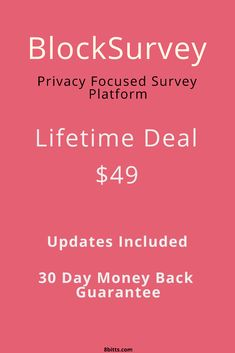 BlockSurvey is a blockchain-based Secure & Privacy-First All-in-One Survey, Forms, and Questionnaire Platform Made For Lead Generation, Research, and More . Get this lifetime deal before it expires! Online Marketing, Social Media Marketing, Opinion Poll, Startup Entrepreneur, Competitor Analysis, Lead Generation, Blockchain, Software, Platform