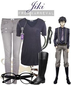 Casual cosplay of Jiki (from Karneval anime series)-- character inspired outfit