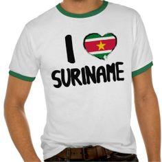 I Love #Suriname T-Shirt. #Sale #surinaams #flags #zazzle