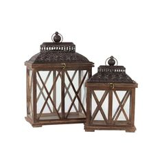 Rustic Antique Finish Wooden Lantern (Set of Two)