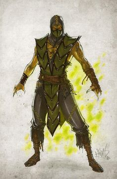 Reptile, from Mortal Kombat. Taking his classic ninja look and merging it with his reptilian look from Reptile Art Mortal Kombat, Reptile Mortal Kombat, Mortal Kombat Comics, Reptiles And Amphibians, Les Reptiles, Game Character, Character Design, Character Concept, Dragons