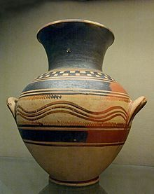 Protogeometric amphora, BM.  Vases of protogeometrical period (c. 1050 - 900 BC) represent the return of craft production after the collapse of the Mycenaean Palace culture and the ensuing Greek dark ages. Indeed, it is one of the few modes of artistic expression besides jewelry in this period since the sculpture, monumental architecture and mural painting of this era are unknown to us.