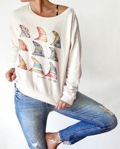 GFK FINS CREWNECK | Fleece & Jackets - Goldfish KIss X Rip Curl comfy soft sweatshirt