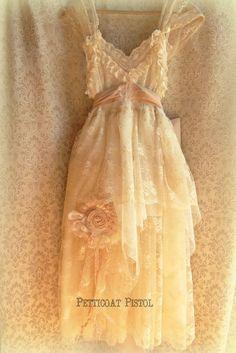 MadeToOrder ..Belle Rustic   Beach  Shabby French Champagne  Blush Tea Ivory Cream Vintage Inspired  Wedding Dress Altered Slip via Etsy