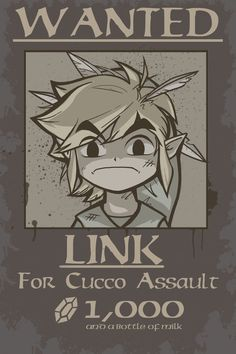 Wanted - Cucco Assault, Legend of Zelda The Legend Of Zelda, Legend Of Zelda Memes, Link Zelda, Geeks, Deco Gamer, Pokemon, Videogames, Wind Waker, Zelda Breath