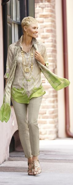 Chico's Infinity Scroll Top, Scarf and Casual Cotton Utility Ankle Pant.