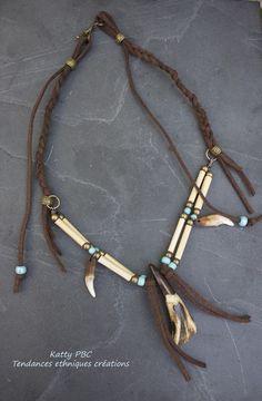 """Collier ethnique indien pow wow """" Amarok"""" - Bijou amérindien : Collier par tendances-ethniques-creations"""