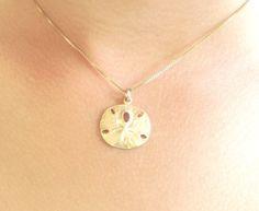 sand dollar necklace, beach necklace, hawaiian jewelry, gold sand dollar, sterling sand dollar, beach wedding, nautical, ocean on Etsy, $43.00