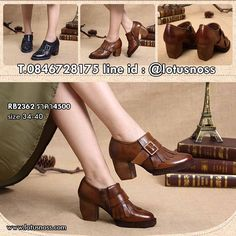 รองเท้าหนังแท้แฮนเมดวินเทจส้นสูงดีไซน์เท่รุ่นใหม่จากเกาหลีแท้ นำเข้า ไซส...