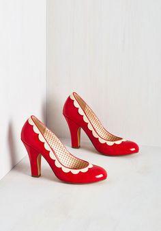 1950s Petal Me This Heel Red Shoes $73.99 AT vintagedancer.com