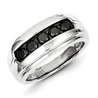 Men's 1 Carat Black Diamond Ring In Sterling Silver Available Exclusively at Gemologica.com