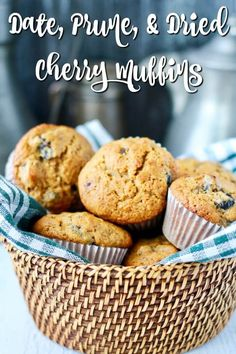 Date, Prune, and Dried Cherry Muffins Recipe Using Dried Cherries, Cherry Muffins, Simple Muffin Recipe, Bakers Gonna Bake, Baking Muffins, Prune, Chocolate Chip Muffins, Healthy Muffins, Dessert For Dinner