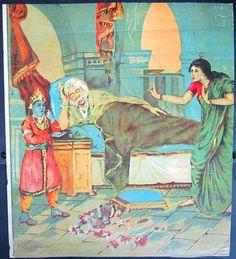 Vintage Bhishma and Draupadi oleograph litho Ravi Varma Press picclick.com