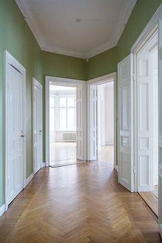 Europe apartment, herringbone floor, green, white, doors, light, love Seventeendoors