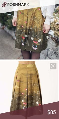 """RARE MAEVE ANTHROPOLOGIE FEATHERED VILLAGE SZ0 Lustrous cotton-silk is box-pleated and printed with dotty abodes and flying families. By Maeve.  Side zip Cotton, silk; polyester lining Dry clean Regular: 24""""L Petite: 23""""L Imported Anthropologie Skirts Midi"""