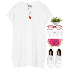 watermelon by intanology on Polyvore featuring мода, Oak, Acne Studios, Charlotte Olympia, Lilly Pulitzer, Nearly Natural and Conair