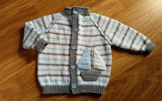 Knit boy cardigan/ Baby boy jacket/ Sail boat cardigan/