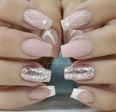"If you're unfamiliar with nail trends and you hear the words ""coffin nails,"" what comes to mind? It's not nails with coffins drawn on them. Although, that would be a cute look for Halloween. It's long nails with a square tip, and the look has. Nail Art Designs, Nail Designs Pictures, Winter Nail Designs, Nails Design, Elegant Nail Designs, Pink Nails, My Nails, Matte Nails, Glitter Nails"