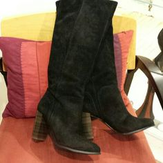 Beautiful tall black suede boots These are made by BCBG generation they are an all suede upper man made sole beautiful rich black color never worn brand new would make a great holiday gift if you could part with them.  3.5 heel BCBGeneration Shoes Heeled Boots