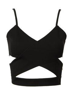 Black Cut Out Cross Spaghetti Strap Cropped Vest