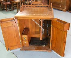Rare Eastlake oak folding sewing machine cabinet with beautiful ...