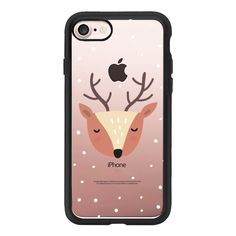 Merry Christmas and Happy Holidays. Cute deer - iPhone 7 Case And... (£32) ❤ liked on Polyvore featuring accessories, tech accessories, iphone case, iphone cases, iphone cover case, clear iphone case and apple iphone case