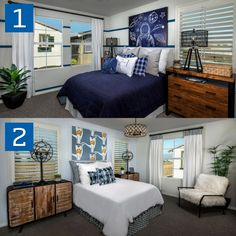 1 or Which bedroom did we decorate better? Let us know what you think in the comments! Central Valley, Bedroom Styles, Dream Homes, Entryway, Gallery Wall, New Homes, California, Furniture, Home Decor