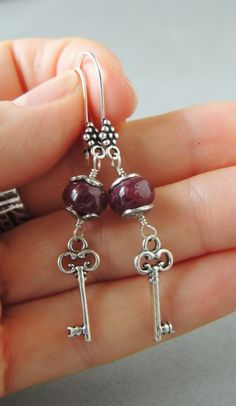 Artisan Jewelry Silver and Ruby Earrings by DianesAddiction