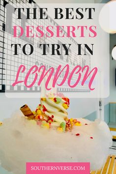 Tips on where to find London's most prettiest desserts. From London cafe aesthetics at Peggy Porschen to the adorable cafe of Saint Aymes. Click through to see why these dessert spots are the best. And see all aesthetically pleasing photos. #desserts #londonaesthetic #londoncafe #bestdesserts #coventgarden Food Travel, Travel Ideas, Travel Guide, Travel Inspiration, Unique Desserts, Creative Desserts, Fun Desserts, London Travel, Travel Europe