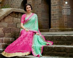 Look Beautiful on any Occasion in Pink and Green Saree with Netted Shoulder Pallu,Georgette Skirt , Heavy silk Blouse with Georgette sleeves and Santoon Inner. Thread,jari,Moti,Jardosi & Stone Work With Heavy Lace On Border.