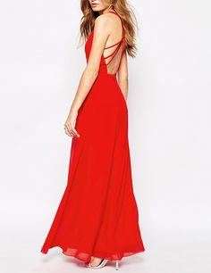 Vestido largo con tirante cruzado-rojo 18.39
