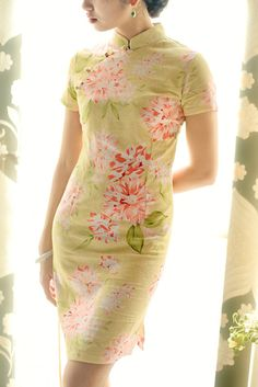 Retro Short Sleeve Green Cotton Linen With Floral Chinese Dress on Etsy, $49.99