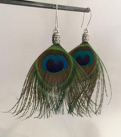 Sterling Silver Peacock Earrings - created by Lisa of Caron Designs, LLC