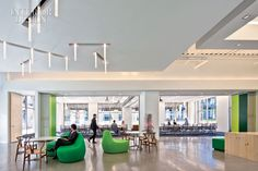 360835 The lobby s custom LED pendant fixtures Photograph by Nic Lehoux  Check Out Nokias Silicon Valley R&D Offices by Gensler