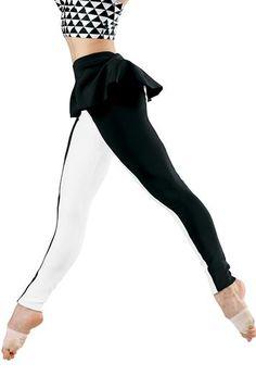 Color-Block Peplum Leggings - Balera This combo is precious! I love it for an off beat dance Dance Recital Costumes, Jazz Costumes, Dance Outfits, Dance Dresses, Aerial Costume, Dance Moms Girls, Dance Pants, Dance Fashion, Dance Wear