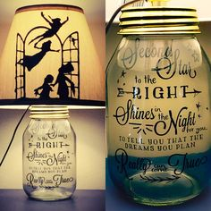 Beautifully hand crafted mason jar lamp inspired by Disneys Peter Pan. This listing includes the base, lighting fixture, and shade. It DOES NOT